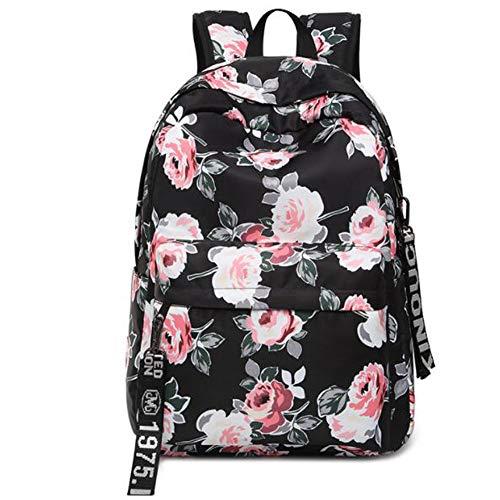 Floral School Bag Backpack for Teenage Girls, Uniuooi Secondary/College School Students Satchel Book Laptop Bag Waterproof Travel Rucksack Women Ladies (Black)