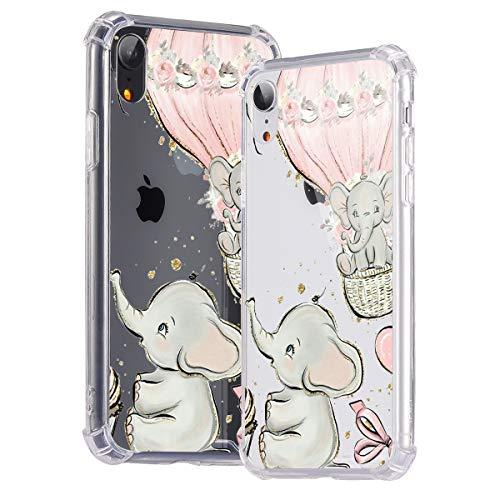 Idocolors Cover per iPhone 6 Plus / 6S Plus Elefante Trasparente Custodia con Antiurto Cuscino d'Aria [Pannello Posteriore in Rigida PC + Angoli in TPU Morbido] Bumper Protettiva Silicone Case