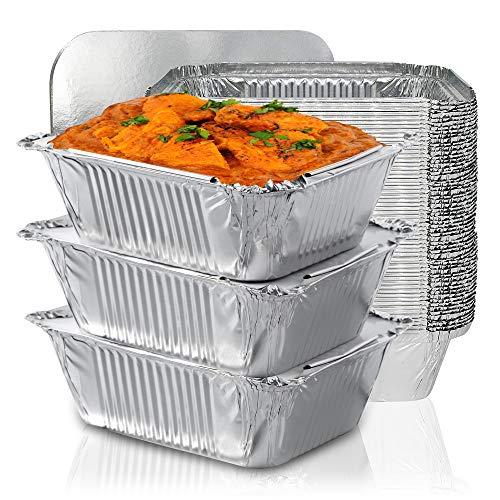 Kleine Aluschalen mit Deckel, Alu Grillschalen für Fast Food Läden, Zubereitung, Mahlzeitpläne Die Grillschalen Aluminium sind ideal für Backen, Speicherung und Gefrierschrank - 25er-Set