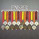 Finisher - Colgador de medallas Deportivas - Medallero de Pared Running, Marathon, Ironman, Triathlon - Sport Medal Hanger Display - Acero Inoxidable - 100% Made in Italy