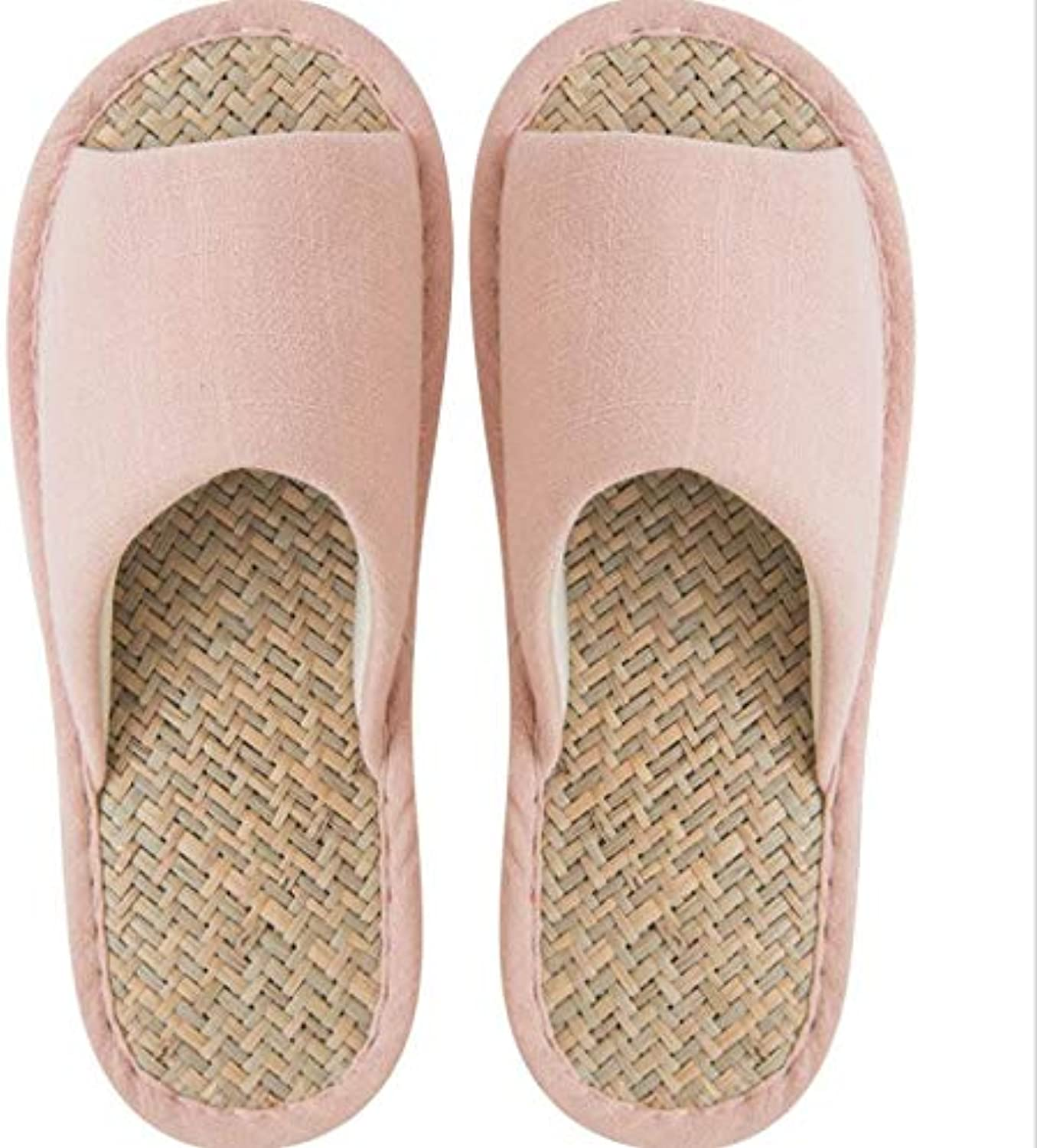 Summer Sandals and Slippers Women's Non-Slip mat red Woven Cool Breathable Home Indoor Couple Slippers Male,Pink,42