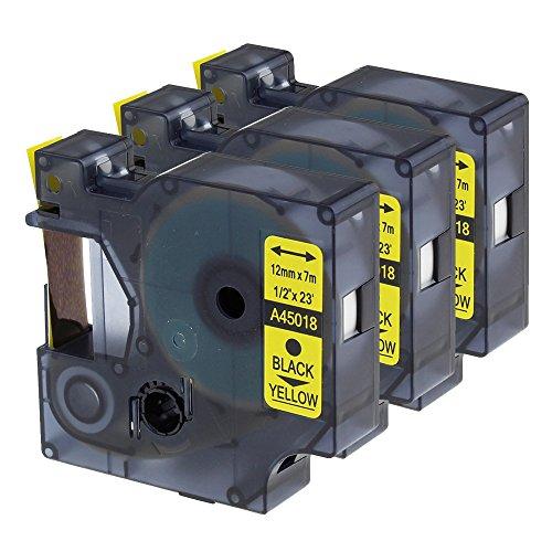 Cartucho Oozmas Compatible para usar en lugar de Dymo 45018 12mm x 7m, Negro sobre Amarillo, Compatible Dymo LabelManager labelpoint 160 210D 260P 280 360D, pack de 3