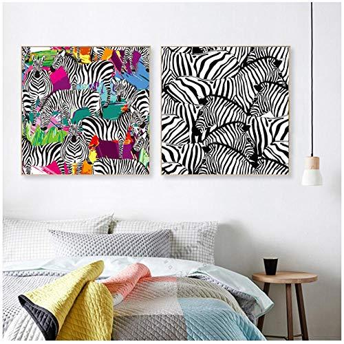Mmdianpu Zebras Malerei auf Leinwand Moderne Leinwand Malerei Druck Wandkunst Home Decor Bunte Tier Poster Dekor Bild für Wohnzimmer (50x50 cmx2 ohne Rahmen)