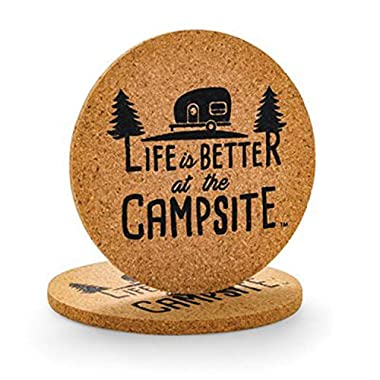 Camco Life Is Better at The Campsite Cork Round Drink Coaster - Fun Retro RV Logo Design | Great for Rving, Camping, Outdoor Cooking and Grilling and More - 2 Pack (53229)