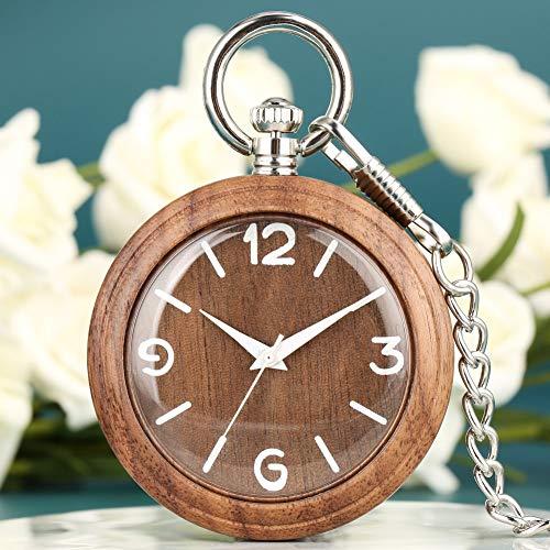 LOOIUEX Reloj de Madera Relojes de Bolsillo con Caja de Madera de...