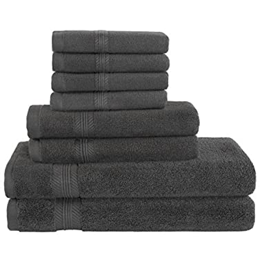 Premium Hotel Quality, 8 Piece Bathroom Towel Set; 2 Bath Towels, 2 Hand Towels, and 4 Washcloths - 100% Ringspun Cotton, Ultra Softness & Absorbency by American Bath Towels, Dark Grey