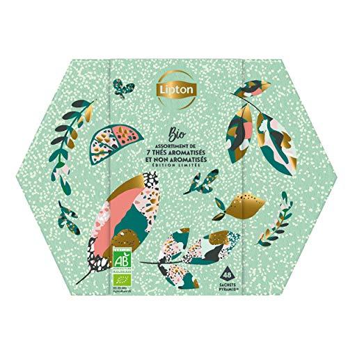 Lipton Coffret Métal, Idée Cadeau, Assortiment de 7 Thés Bio Aromatisés & Non-Aromatisés, idéal à offrir, 100% bio, 48 Sachets Pyramid