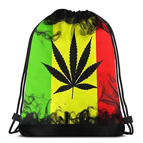 Sunny R Mochila con cordón de Marihuana Rasta Mochila Gimnasio Bolsa de Baile Mochila para Senderismo Bolsas de Viaje en la Playa 17×14 Pulgada