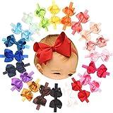 Baby Girls Headbands Grosgrain Ribbon 4.5' Hair Bows Headband Big Bow Hair Bands for Toddler Pack of 20