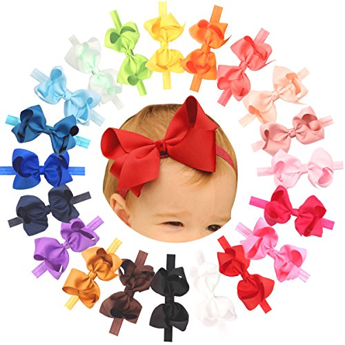 Baby Girls Headbands Grosgrain Ribbon 4.5  Hair Bows Headband Big Bow Hair Bands for Toddler Pack of 20