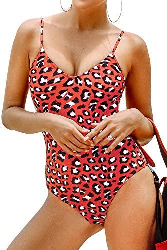 CUPSHE Women's V Neck Leopard Print One Piece Swimsuit,XL