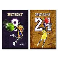 2PCSブラックマンバはフレームレス、バスケットボールファンのギフト用の装飾画の背番号24と、キャンバス上の背番号8ポスターウォールアート画像印刷物を神戸,40×60cm