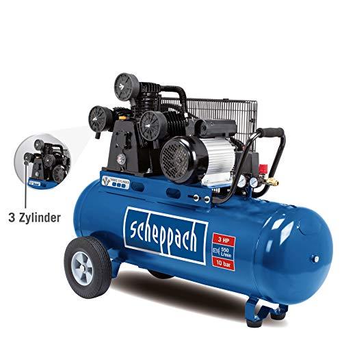SCHEPPACH HC550TC Druckluft Kompressor 10 bar 100 Liter, Riemenantrieb 2200 Watt