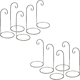 BANBERRY DESIGNS Ornament Display Stand - Set of 10 Silver Christmas Holders - Chrome Finished Metal 7-Inch Tall - Air Plant and Terrarium Stands