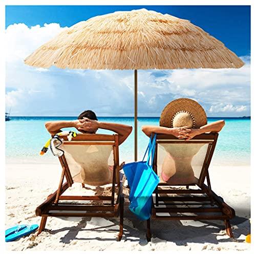 NLXX Paja de Playa Parasol de 7.8 'Sunbrella Tropical Palapa Rafia Tiki Hut Sombrilla Hawaiana Hula para Patio, inclinación automática Piscina portátil a Prueba de Viento Pequeño Bistro Jardín Césped