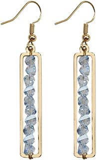 Simple Crystal Long Section Earrings Temperament Personality Geometrical Ear Pendent Fashion Ear Ornaments Jinlyp (Color : Blue)