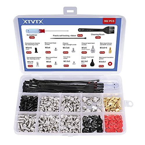 XTVTX 362 uds. Tornillo para computadora personal Kit de juego de separadores Para placa base Caja de la computadora del disco duro Potencia del ventilador con mini destornillador Y un cepillo