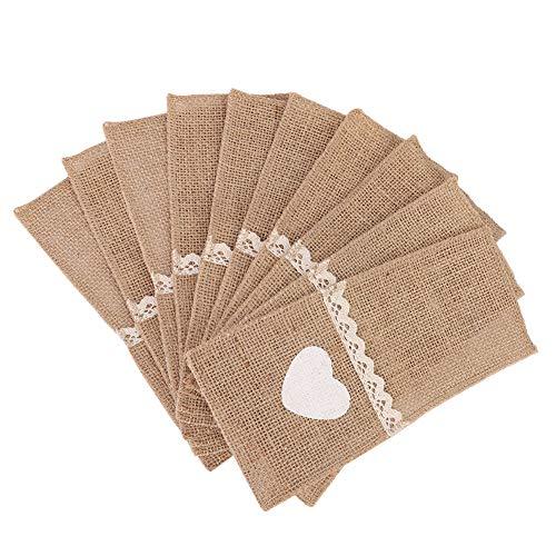 Cuchillo Tenedor Bolsa Cubiertos Bolsillo Arpillera natural Bolsa de encaje Porta utensilios Decoraciones rústicas para banquete de boda(En forma de corazon)