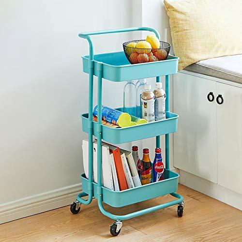 CLIPOP Carro de almacenamiento de 3 niveles con ruedas para servir multifunción con asa extraíble y ruedas con bloqueo, carrito con ruedas para cocina, baño, dormitorio, muebles de oficina (azul)