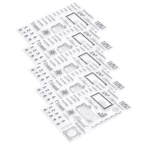 Casa de sello de silicona de 5 piezas, patrón de calendario mensual Sellos de sello de silicona transparente Sello de grafiti Hojas de goma de sello transparente para álbum de recortes de