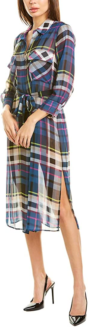 Vince Camuto Womens Plaid Escape Belted Duster, Blue, XS