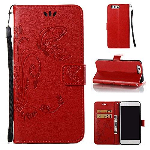 pinlu Flip Cover per Huawei P10 Plus Alta qualità Portafoglio in Artificiale Pelle Colorata Luminoso Coperture Eleganti del Telefono Farfalla Erba Ros