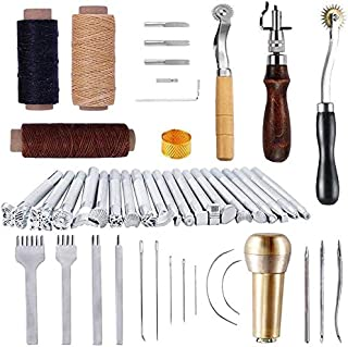 MUUZONING 48 Pcs Kit Outils Cuir Outil de Bricolage Kit, Professionnel Couture DIY Artisanat Maroquinerie Poinçon Outillag...