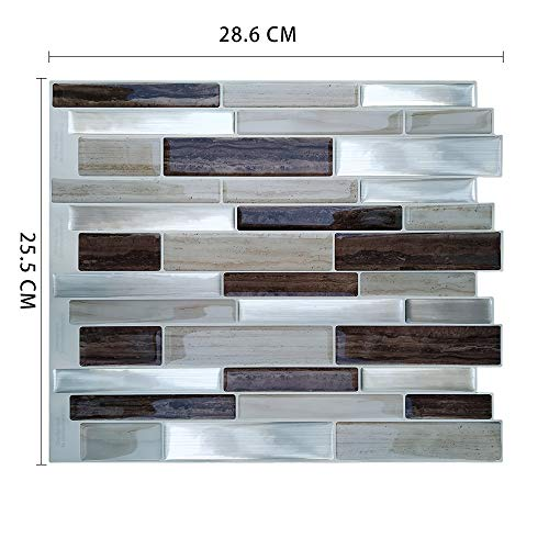 Lianlili 10 unids 3D Peel and Stick Wallpaper de Vinilo Impermeable a Prueba de Calor Mosaico Auto Adhesivo Cocina Backsplash Tejas (Color : MSOB 056)