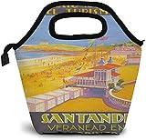 Santander España - Póster de viaje vintage con impresión de playa con aislamiento para el almuerzo personalizado Bento Box Picnic Cooler Bolsa portátil para el almuerzo para mujeres y niñas