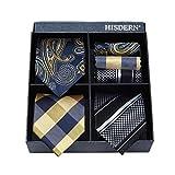 HISDERN Lot 3 PCS Classic Men's Tie Set Necktie & Pocket Square Elegant Neck Ties Collection,T3-02,One Size