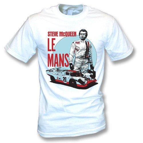 TshirtGrill El Medio de la Camiseta de Steve Mcqueen Le Mans, colorea Blanco