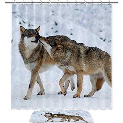 Bennigiry Wolf Love Bad-Set mit Duschvorhang und Teppichen und Zubehör, 177,8 x 182,9 cm, wasserdichte Polyester-Stoff-Duschvorhänge, Badematte mit 12 Haken