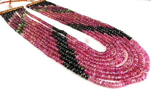 LOVEKUSH 50% Off Gemstone Jewellery 8 Line Natural MULTI TOURMALINE Facetted Round BEADS Necklace 18 INCHES 4MM to 6MM Code:- RADE-46251