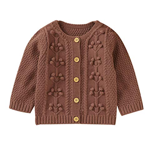 2021 Christmas Fashion Newborn Infant 1-7Month Baby Girl Boy Winter Jacket Warm Button Coat Knit Fresh and Simple Little Plum Soft Comfortable Keep Warm Long Sleeve Outwear Sweater Brown