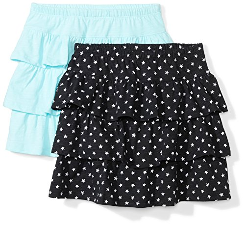 Amazon Brand - Spotted Zebra Kids Girls Knit Ruffle Scooter Skirts, 2-Pack Stars/Turquoise, X-Large