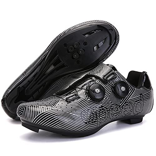 Zapatillas de Ciclismo Para Hombre Zapatillas de Bicicleta de Carretera con Zapatillas SPD Peloton con Hebilla Delta Compatible Para Carreras de Equitación en Interiores,Black-13UK=(285mm)=47EU