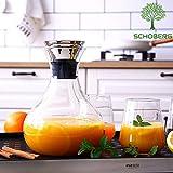 SCHOBERG Wasserkaraffe 1,5 Liter Karaffe Saftkrug Krug aus Glas mit Ausgiesser Sieb Küche - 4