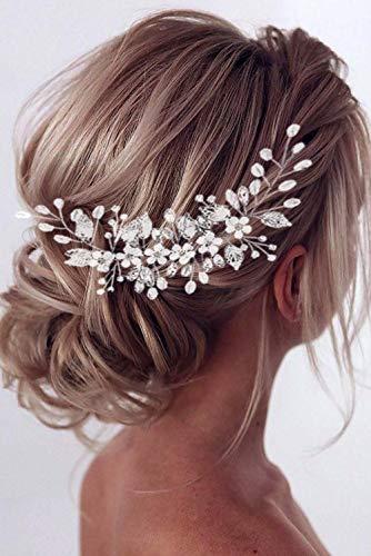 Edary Braut Hochzeit Haar Rebe Silber Blume Stirnband Kopfschmuck Hochzeit Strass Haarteil Braut Blatt Haarschmuck für Frauen und Mädchen