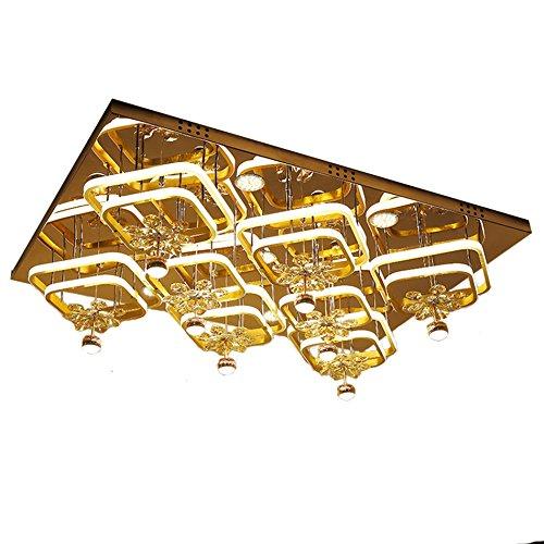 ZWL Lampes de plafond de cristal de LED, salle de mariage rectangulaire créatrice Lumière de cristal Villa Salon Salon Plafonnier Magasin de vêtements Les lampes d'éclairage de centre commercial 110 * 80cm Dimmable Colorable ZWL ( taille : 110*80cm )