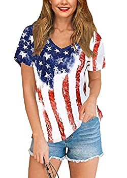 Women s July 4th Casual American Flag T Shirts Striped Stars Short Sleeve Patriotic Top USA Flag L