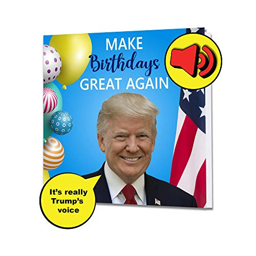 Singing President Trump Birthday Greeting Card - Real Voice - Funny Patriotic Donald Birthday...