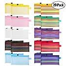 Sooez Zipper Mesh Pouch, 20 Pack Plastic Pencil Pouches Pen Bags Multipurpose Travel Bags for Office Supplies Cosmetics Travel Accessories Multicolor, 10 Assorted Colors