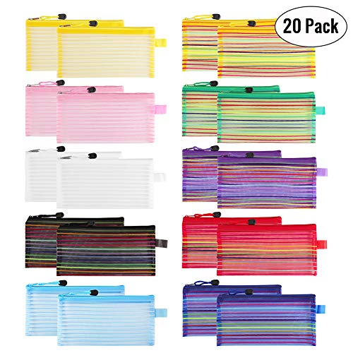Sooez Zipper Mesh Pouch, 20 Pack Plastic Pencil Pouches Pen Bags Multipurpose Travel Bags for Office Supplies Cosmetics Travel Accessories Multicolor, 10 Assorted Colors
