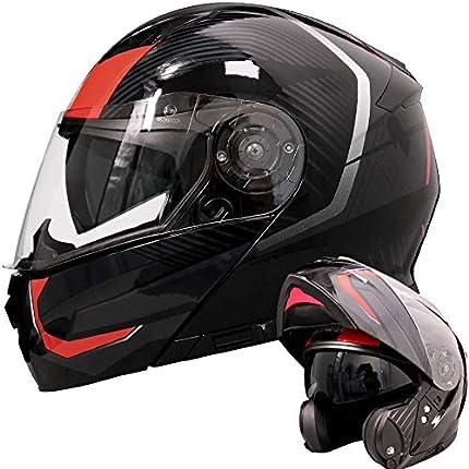 Leopard LEO-888 Doble Visera Casco Moto Modular ECE 22-05 Homologado #5 Rojo/Gris/Negro XL (61-62cm) para Motocicleta Bicicleta Scooter Cascos de Moto Modulares Mujer y Hombre