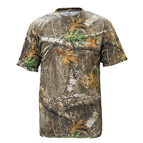 Staghorn Mens All Over Camo Short Sleeve Tee Shirt, Realtree Edge Frame, Large