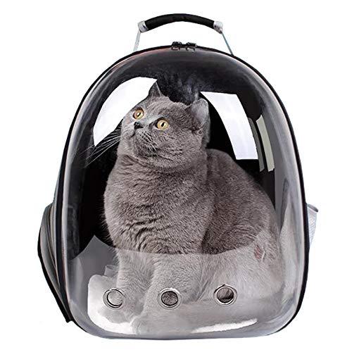 Mochila para gatos grande, transparente para mascotas, bolsa de transporte portátil con ventilación, para perros pequeños, para exteriores, impermeable, diseño de cápsula transpirable (negro)
