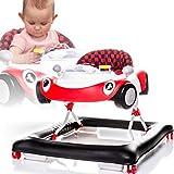 Lauflernhilfe mit Spielcenter (Melodien Hupe Schalthebel und Leuchtfunktion) Gehfrei Gehhilfe Baby Walker in verschiedenen Farben (ROT)