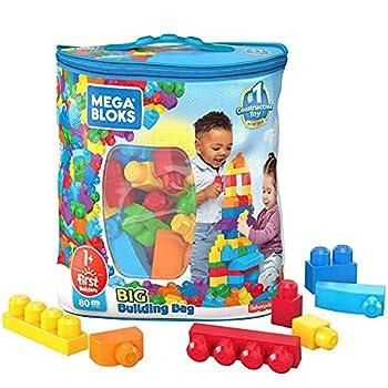 Mega Bloks First Builders Big Building Bag with Big Building Blocks Building Toys for Toddlers  80 Pieces  - Blue Bag