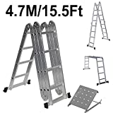 Aluminium Double Sided Step Ladder Folding A-Type Household Stepper Adjustable 4 Section 4x4