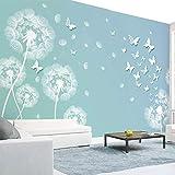 Papel pintado mural adhesivo de pared Papel tapiz fotográfico moda moderna 3D estéreo diente de león mariposa murales papeles de pared para sala de estar TV sofá Fondo pintura de pared